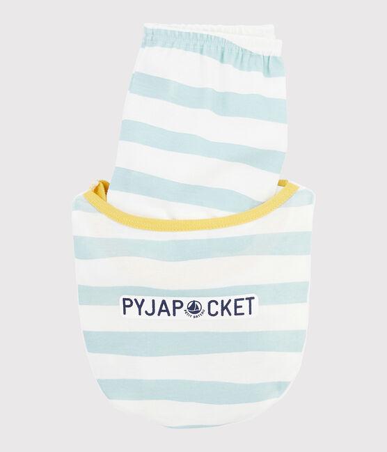 Pijama de dibujo de pantera de punto para niño blanco Marshmallow / azul Crystal