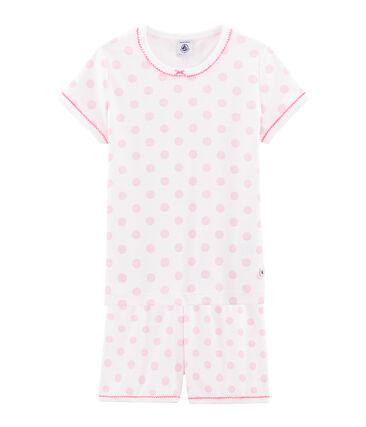 Pijama corto de punto de algodón para niña