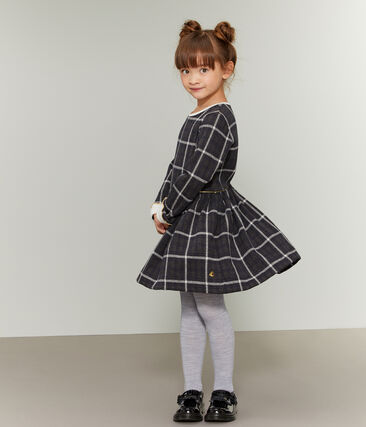 Vestido de malla y cuadros para niña negro City / blanco Multico