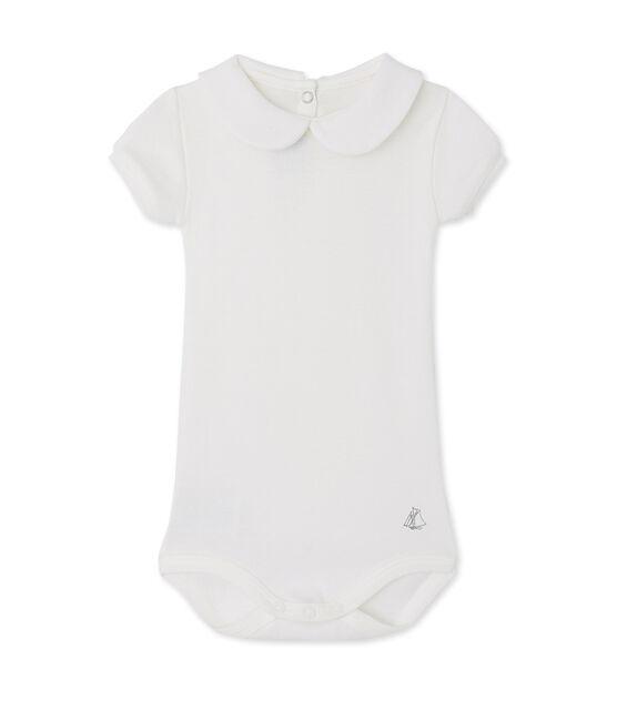 Body para bebé niña con cuello blanco Lait