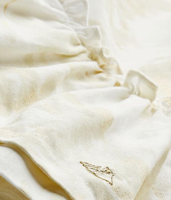 Vestido bebé niña en satén estampado blanco Marshmallow / blanco Multico