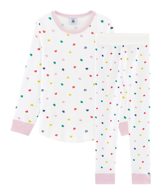 Pijama de punto para niña de talle alto con acanalado blanco Marshmallow / blanco Multico