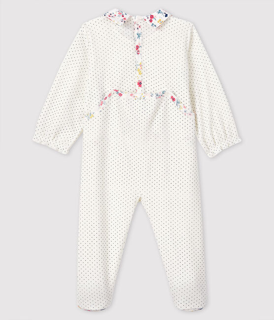 Pelele de terciopelo con lunares para bebé niña blanco Marshmallow / azul Medieval