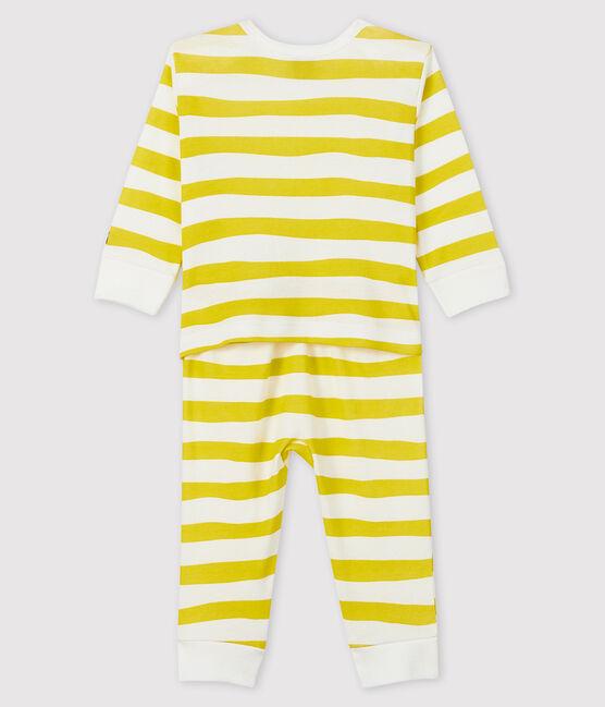 Pelele de punto acanalado sin botones de presión para bebé amarillo Ble / blanco Marshmallow