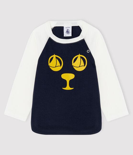 Camiseta para bebé niño azul Smoking / blanco Marshmallow