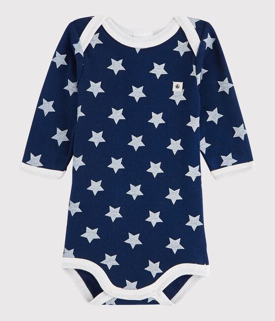 Bodi de manga larga de bebé niña/niño azul Medieval / blanco Marshmallow