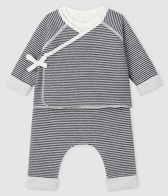 Conjunto de 3 piezas para bebé de túbico azul Smoking / blanco Marshmallow