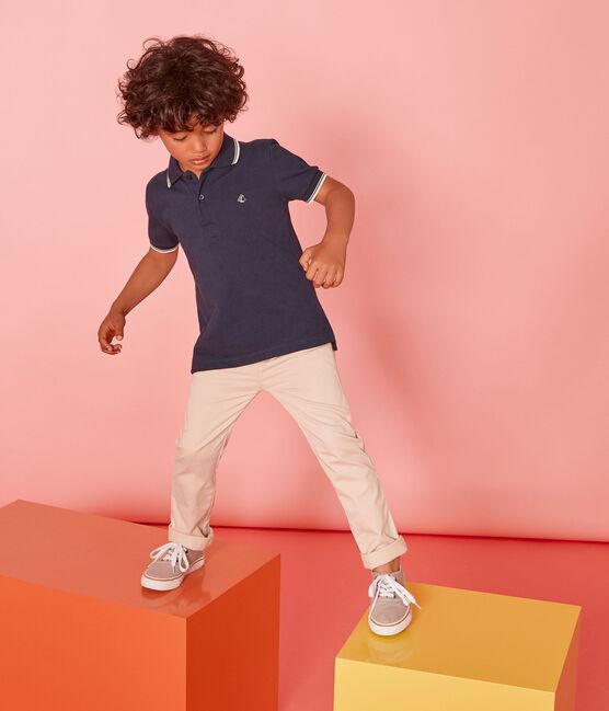 Polo manga corta infantil para niño azul Smoking
