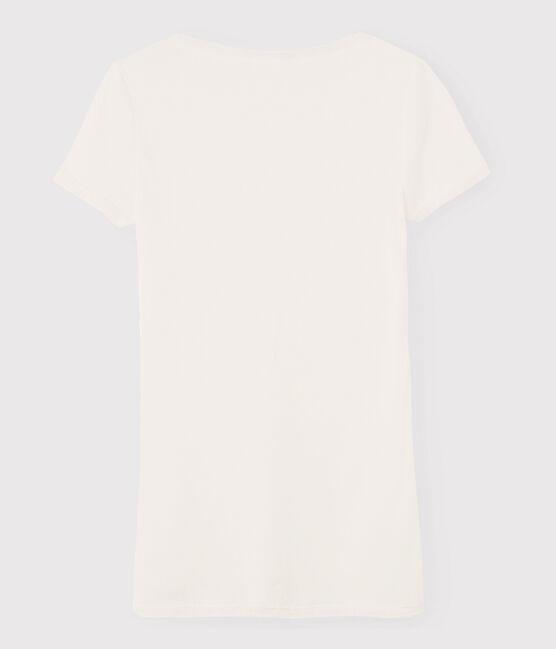 Camiseta de canalé ligero de mujer blanco Marshmallow