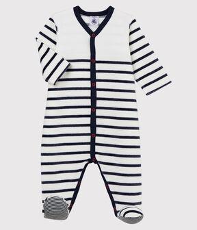 Pelele de terciopelo a rayas para bebé blanco Marshmallow / azul Smoking