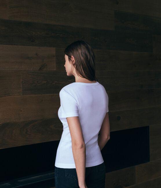Camiseta de mujer icónica de manga corta blanco Ecume