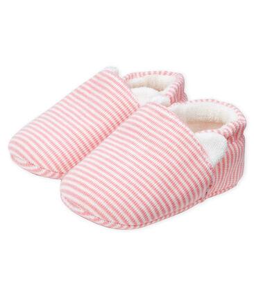 Patucos para bebé niña de punto rosa Charme / blanco Marshmallow
