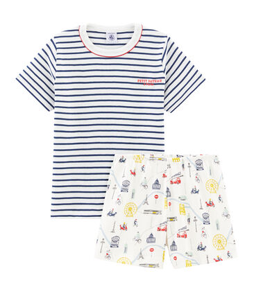 Pijama corto de punto para niño blanco Marshmallow / blanco Multico