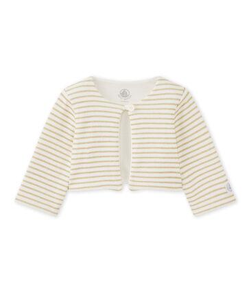 Cárdigan de rayas para bebé niña blanco Marshmallow / amarillo Dore