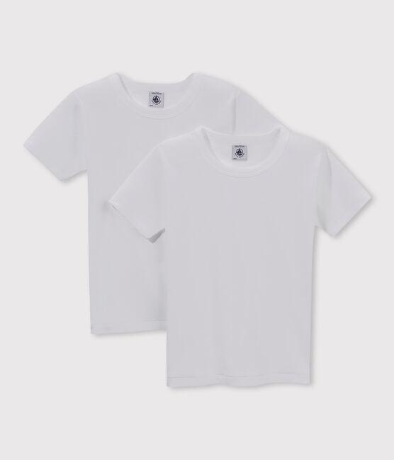 Lote de 2 camisetas manga corta blancas para niño lote .