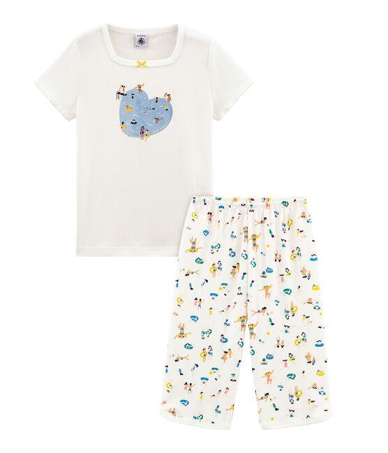 Pijama corto de punto para niña blanco Marshmallow / blanco Multico Cn