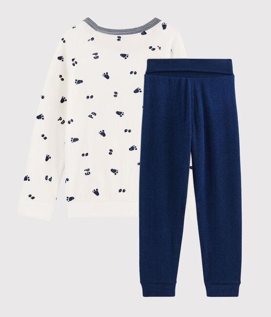 Pijama de rizo picado para niño pequeño con cintura subida blanco Marshmallow / azul Medieval
