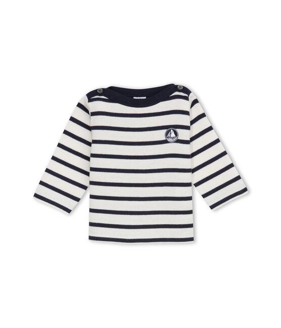 Jersey marinero emblemático para bebé unisex beige Coquille / azul Abysse