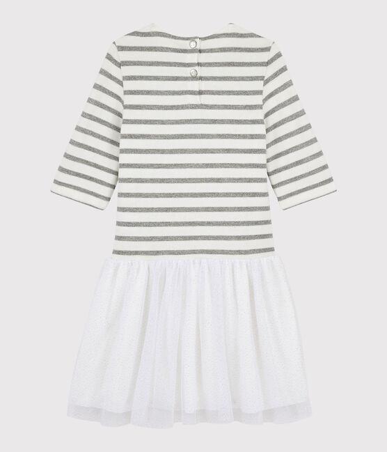 Vestido de manga corta para niña blanco Marshmallow / gris Argent