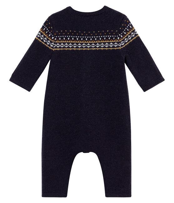 Pelele largo de punto Jacquard para bebé niño azul Smoking