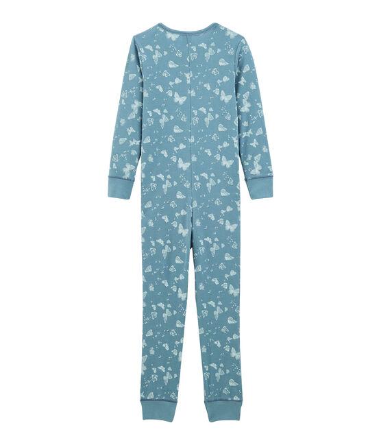 Mono largo infantil de algodón para niña azul Fontaine / blanco Marshmallow