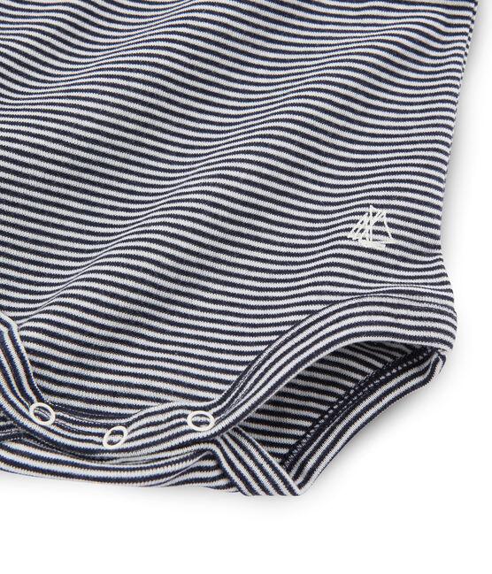 Body de manga larga y cuello redondo para bebé unisex azul Smoking / blanco Lait