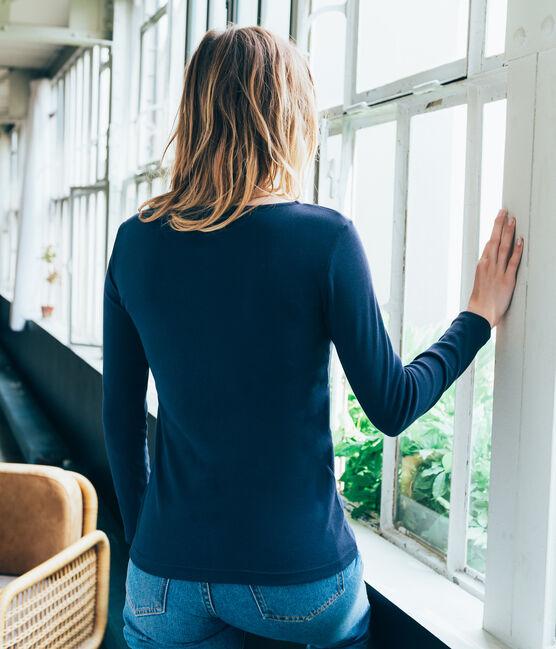 Camiseta de manga larga para mujer azul Smoking