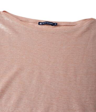 Camiseta de manga larga de lino brillante para mujer rosa Rose / gris Argent