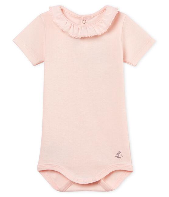 Body manga corta con collarín para bebé niña rosa Fleur