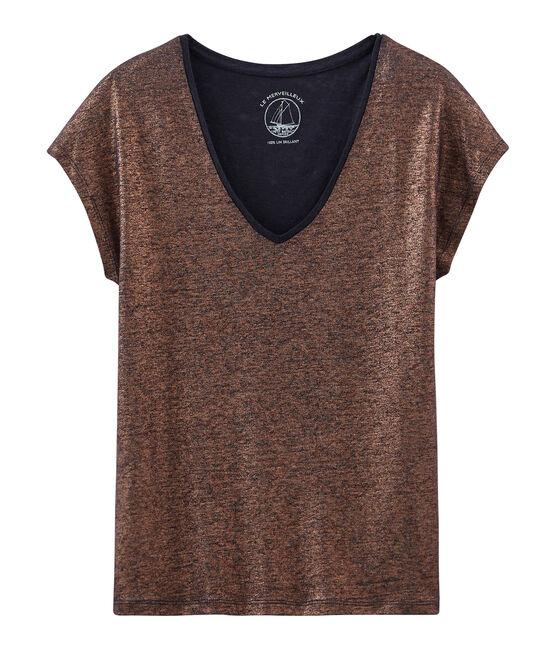 Camiseta manga corta lisa de lino irisada para mujer azul Smoking / rosa Copper