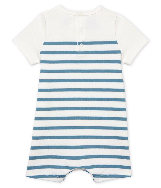 Mono corto de manga corta para bebé niño blanco Marshmallow / azul Fontaine