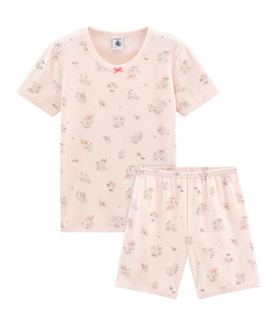 Pijama corto de corte muy ajustado de punto para niña rosa Fleur / blanco Multico