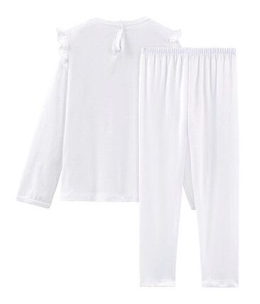 Pijama de algodón fino para niña blanco Ecume