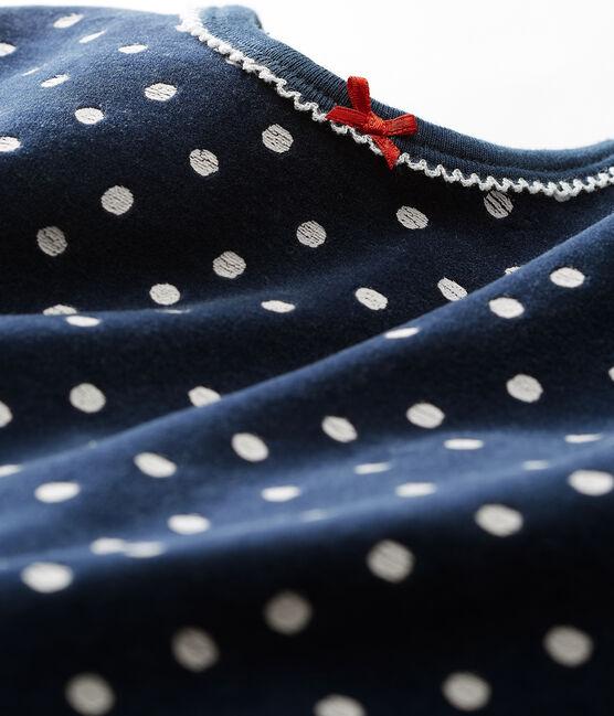 Pelele de terciopelo para bebé niña azul Haddock / blanco Ecume