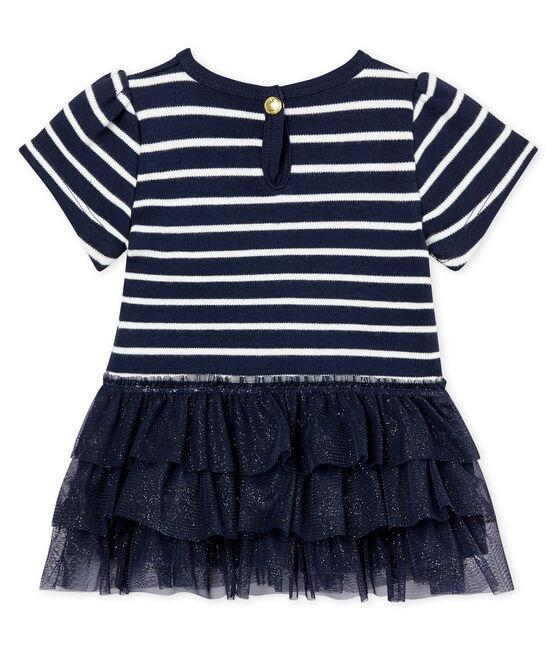 Vestido de rayas marineras con tul para bebé niña azul Smoking / beige Coquille