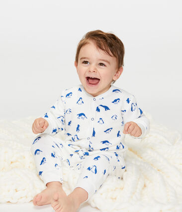 Conjunto de noche de toalla de rizo afelpado extra cálido para bebé blanco Marshmallow / azul Major