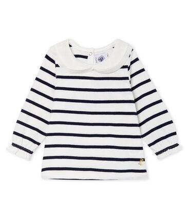 Blusa de manga larga con rayas marineras para bebé niña blanco Marshmallow / azul Smoking Cn