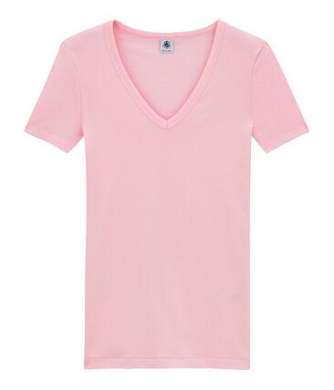 Camiseta con cuello en pico, de punto original, para mujer rosa Babylone