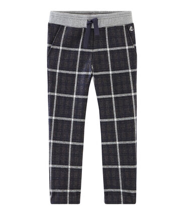 Pantalón de malla y cuadros para niño negro City / azul Smoking