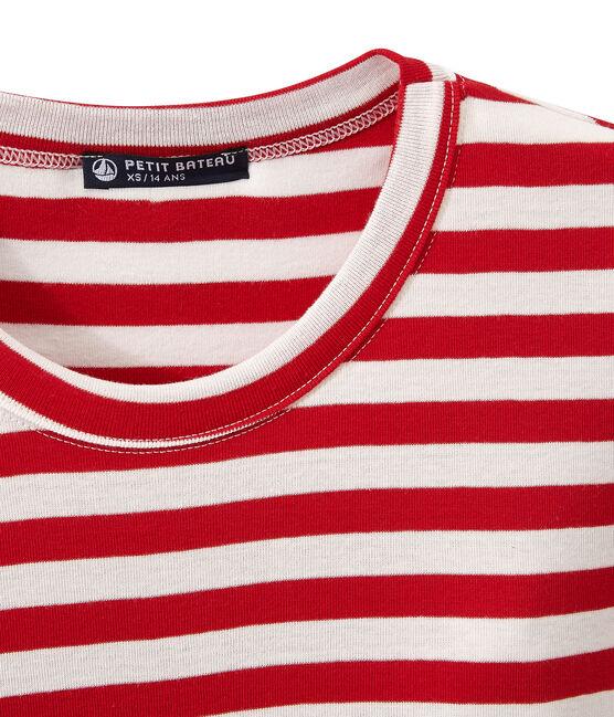 Camiseta de mujer en canalé original de rayas rojo Terkuit / blanco Marshmallow