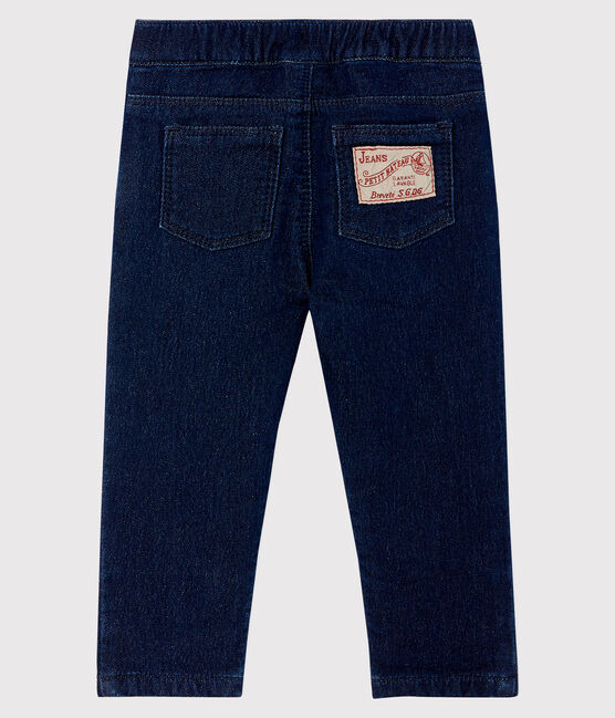 Pantalón de malla con efecto vaquero para bebé azul Jean