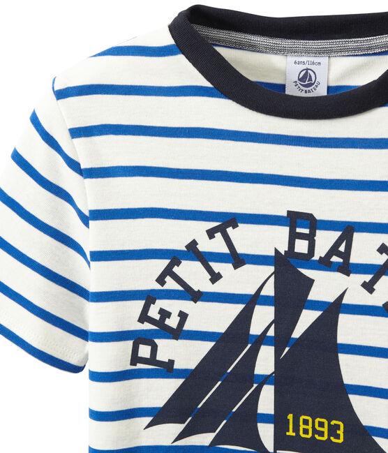 Camiseta a rayas blanco Marshmallow / azul Perse