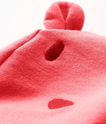 Gorro de bebé unisex realizado en muletón y elastano rosa Groseiller