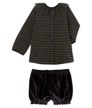 Conjunto 2 piezas para bebé niña negro Noir / blanco Multico
