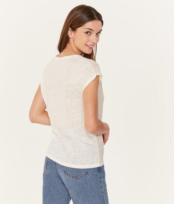 Camiseta manga corta lisa de lino irisada para mujer blanco Marshmallow / rosa Copper