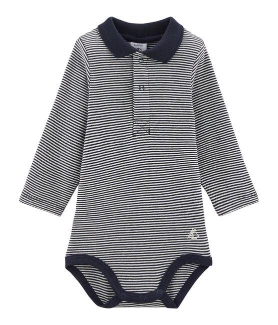 Body de manga larga con cuello de polo para bebé niño azul Smoking / blanco Lait