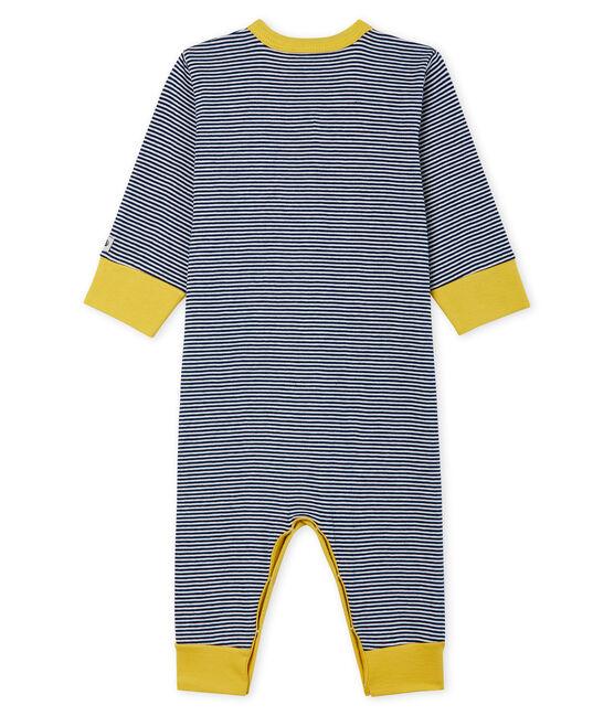Pijama sin pies de punto para bebé niño azul Medieval / blanco Marshmallow