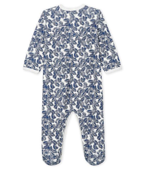 Pijama de punto para bebé blanco Marshmallow / azul Medieval