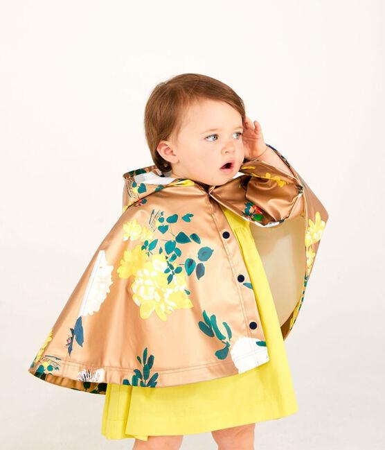 Poncho de lluvia icónico estampado para bebé niña marrón Cuivre / blanco Multico