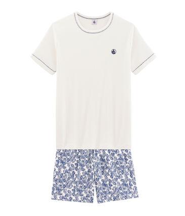 Pijama corto de punto para chico blanco Marshmallow / azul Medieval
